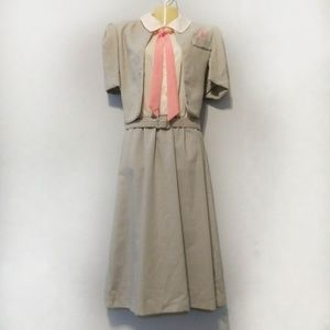 Vintage 1970s suit dress with matching tie